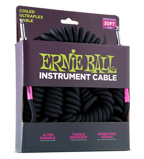 30 39 coiled straight straight instrument cable black for guitar. Black Bedroom Furniture Sets. Home Design Ideas